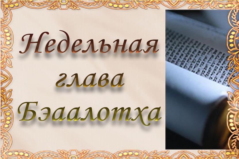 Недельная глава «Бэаалотха»